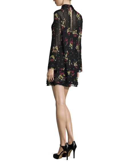Stevie Gilded Daisy Chiffon Mini Dress, Black Multi