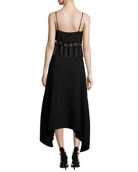 Nolana Sleeveless Tassel-Trim Midi Dress