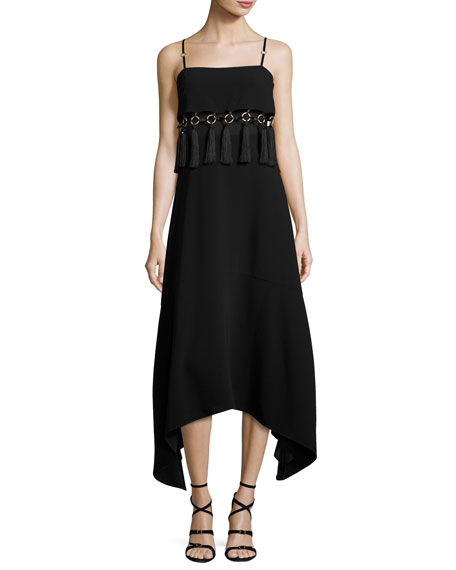 cinq a sept Nolana Sleeveless Tassel-Trim Midi Dress