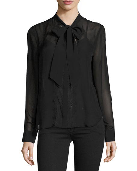 Equipment Leema Tie Neck Blouse Black