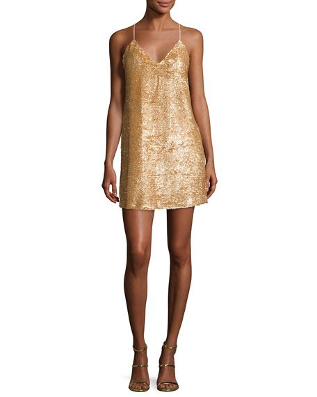 Kendall + Kylie Sequined Cross-Back Slip Dress