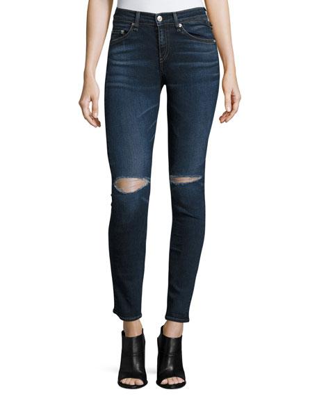 rag & bone/JEAN Mid-Rise Distressed Skinny Jeans, Vashon