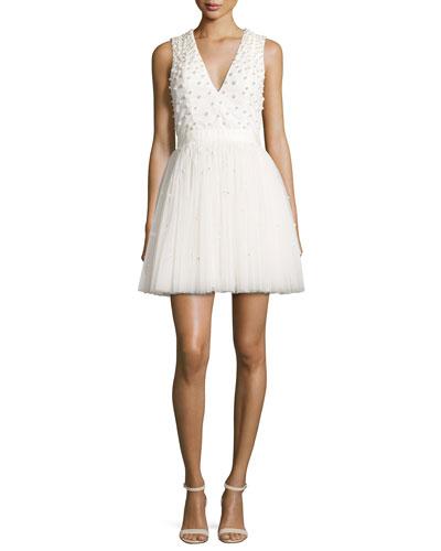 Shanda Embellished Party Dress, Cream