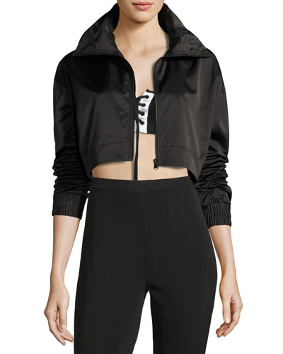 Boxy Cropped Track Jacket, Black