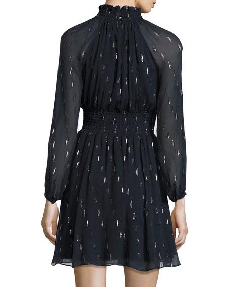 Metallic Chiffon Smocked-Waist Dress