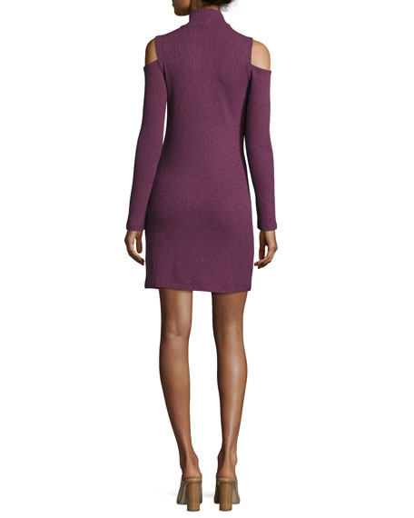 Cold-Shoulder Mock-Neck Sweaterdress