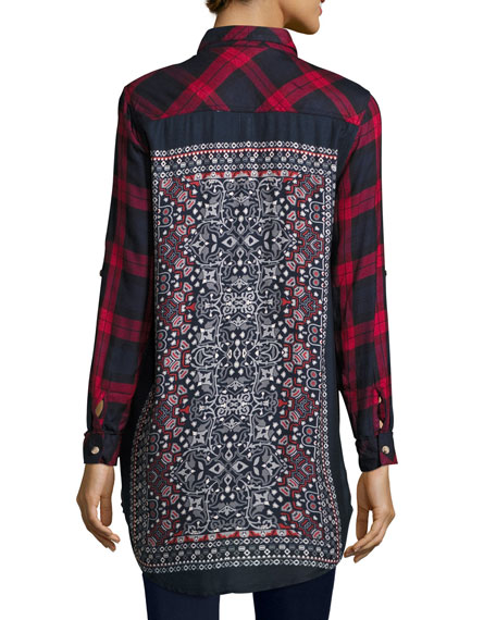 Tina Plaid Boyfriend Shirt, Red, Plus Size