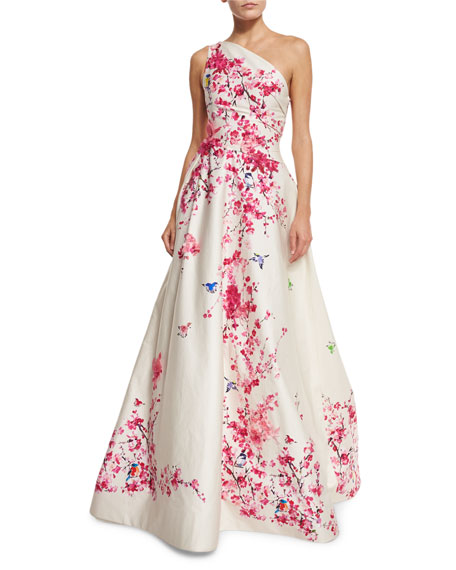 Cherry Blossom One-Shoulder Ball Gown, Cream/Multi