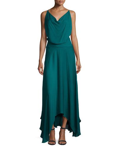 The Morton Silk Cowl Dress, Teal