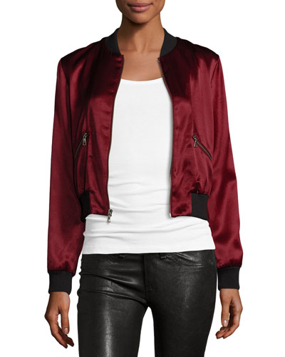 Lonnie Cropped Satin Bomber Jacket
