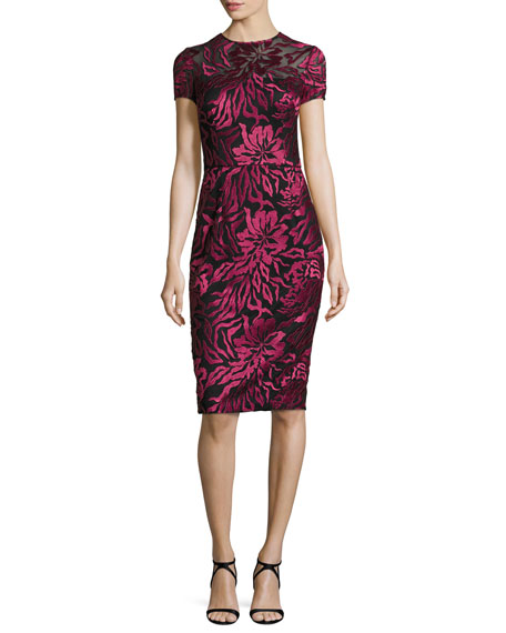 David Meister Short-Sleeve Floral Embroidered Sheath Dress,