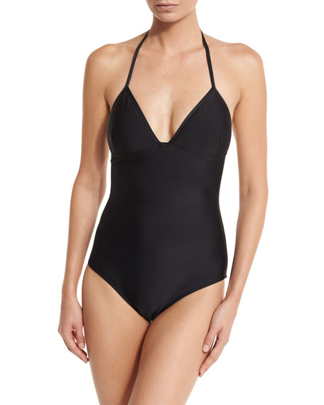 Lace-Back One-Piece Swimsuit, Matte Black