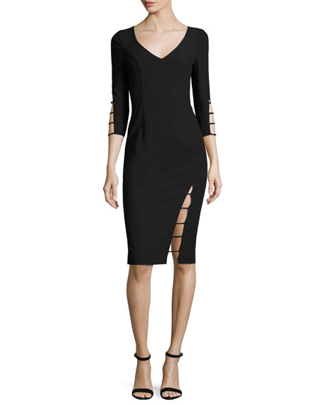 Black Halo 3/4-Sleeve Cutout Sheath Dress, Black