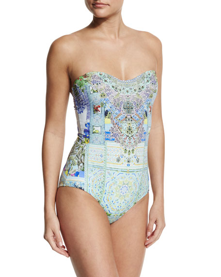 Embellished Bandeau One-Piece Swimsuit, My Majorelle