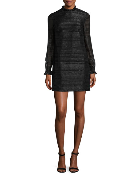 Markus Lupfer Cityscape Fil Coupe Carrie Dress, Black