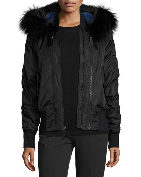 Derek Lam 10 Crosby Hooded Fur-Trim Tech Jacket, Black