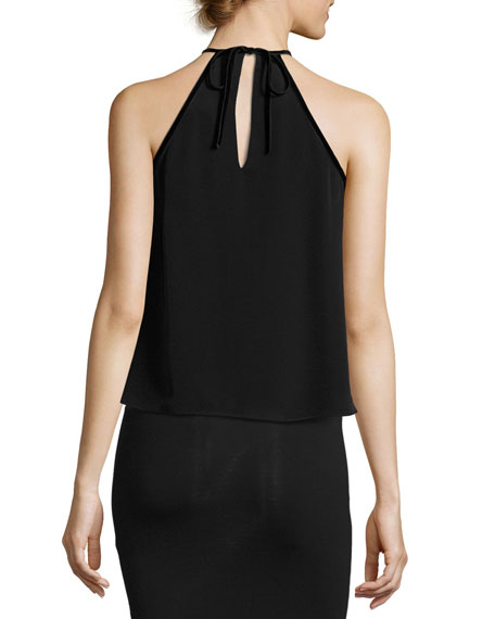 Tulla Sleeveless Silk Tie-Neck Top