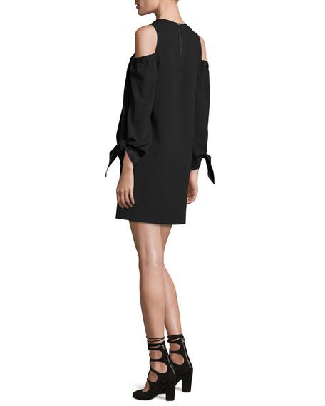 Cold-Shoulder Tie-Sleeve Crepe Mini Dress, Black