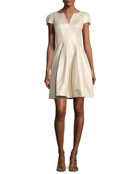 Halston Heritage Cap-Sleeve Metallic Structured Faille Dress,