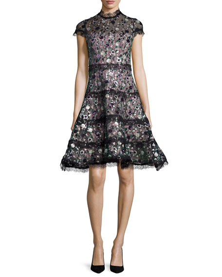 Alexis Peony Sequined Garden Fit Amp Flare Dress