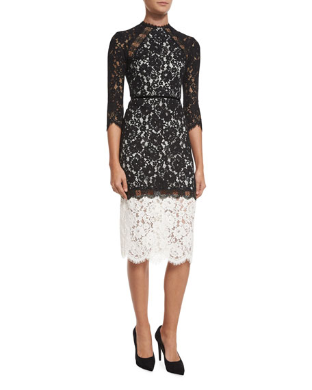 Alexis Whitney Bicolor Lace Midi Dress