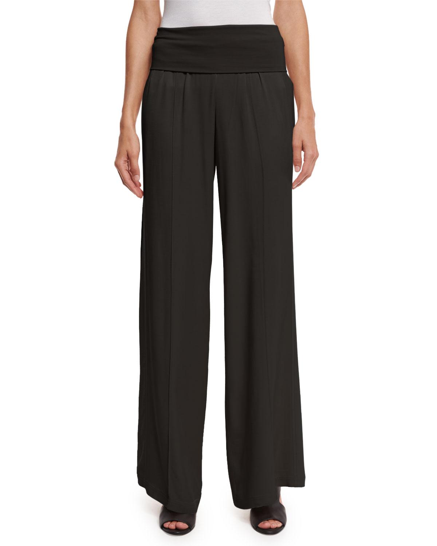1f922e27397edb ATM Anthony Thomas Melillo Wide-Leg Yoga Pants, Black | Neiman Marcus