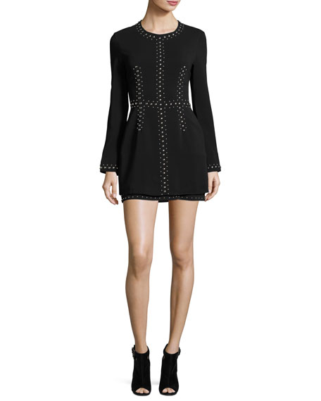 A.L.C. Madison Studded Stretch Crepe Dress, Black