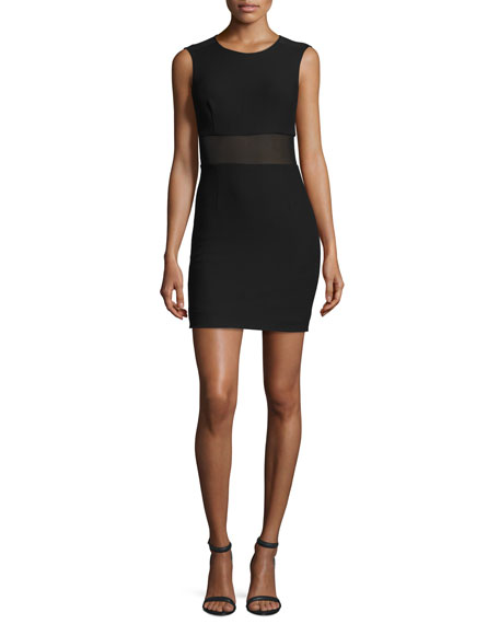 Elizabeth and James Jackie Sleeveless Ponte Mesh-Trim Mini