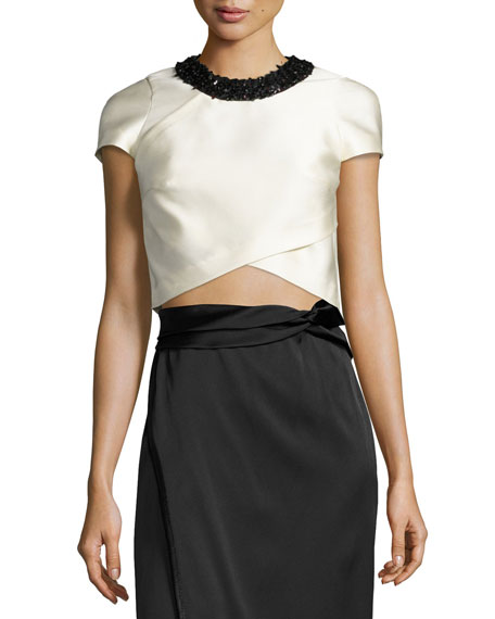 Cap-Sleeve Satin Overlay Cropped Top