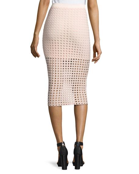 Jacquard Eyelet Midi Skirt
