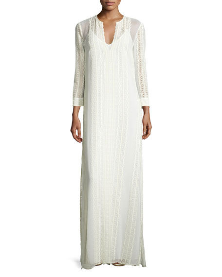 Elizabeth and James Mia Silk Lace-Trim Maxi Dress,