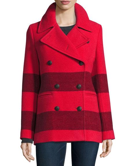 Skye Striped Wool-Blend Peacoat, Fiery Red