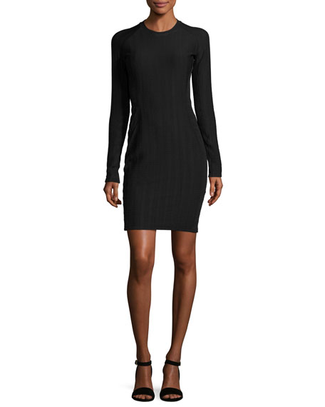 Ada Long-Sleeve Textured Stretch Mini Dress, Black
