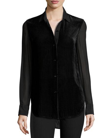 Danni Long-Sleeve Velour Striped Blouse, Black