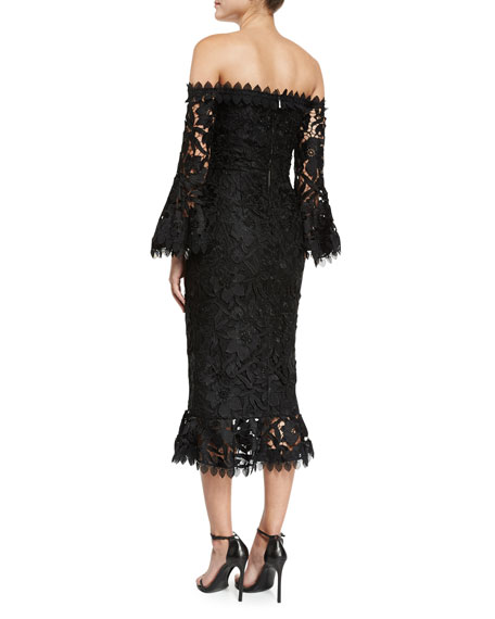 Botanical Off-the-Shoulder Lace Cocktail Dress