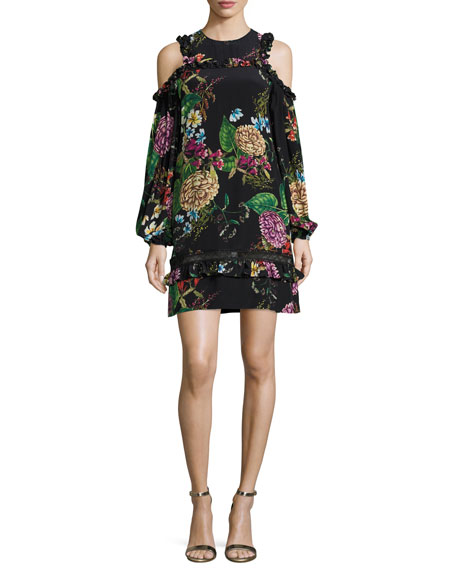 NICHOLAS Dahlia Floral-Print Ruffle Mini Dress