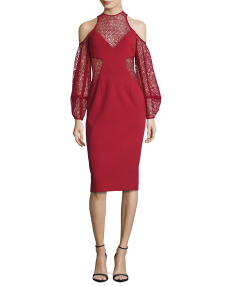 NICHOLAS Cold-Shoulder Lace & Crepe Cocktail Dress