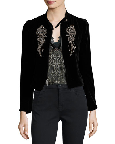 Embellished Structured Velvet Jacket, Black
