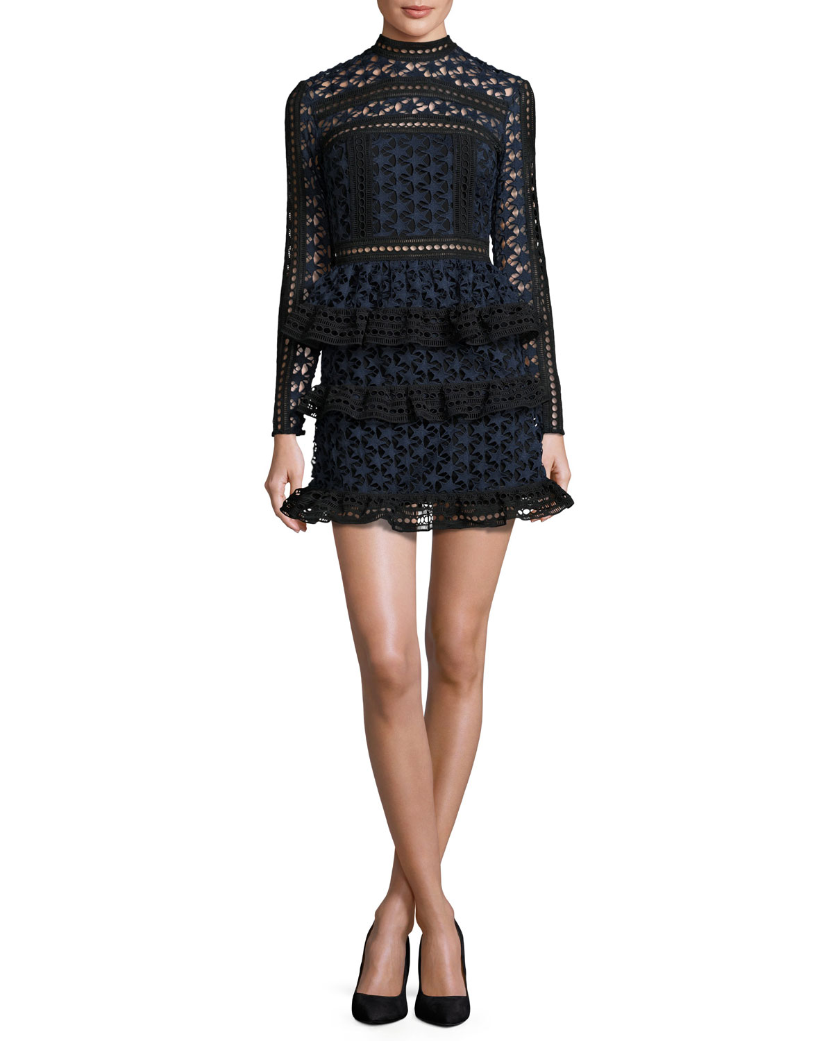 8e9e231665cd Self-Portrait Star Lace-Paneled Mini Dress
