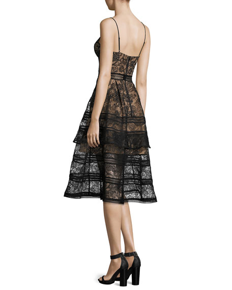 Paisley Lace Sleeveless Bustier Midi Dress, Black