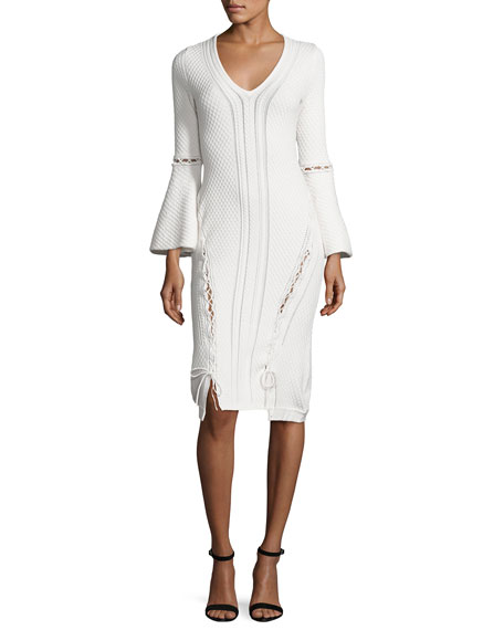 Jonathan Simkhai Lace-Up Knit V-Neck Dress, Ivory