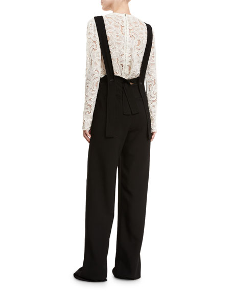 Harlow Crepe Overall Jumpsuit, Black