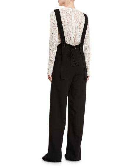 Harlow Crepe Overall Jumpsuit, Black