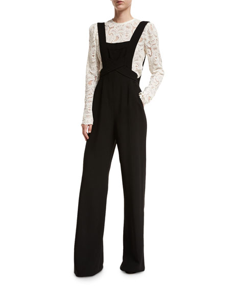 A.L.C. Harlow Crepe Overall Jumpsuit, Black