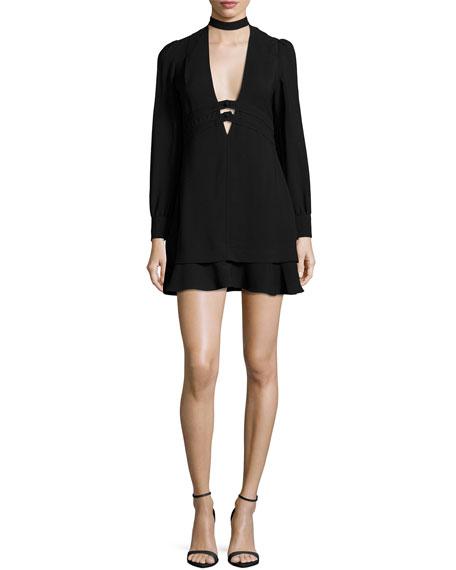 A.L.C. Faye Stretch Crepe Mini Dress, Black