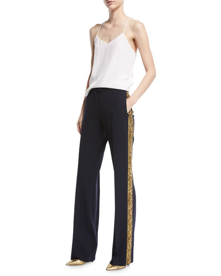Serge Wool Embroidered  Pants, Navy