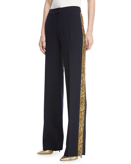 Michael Kors Serge Wool Embroidered Pants, Navy