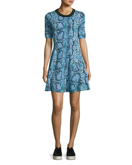 Kenzo Snake-Print Stretch Jersey Fit-and-Flare Dress, Midnight