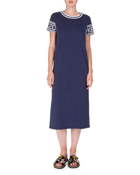 Kenzo Logo-Sleeve Jersey Midi Dress, Midnight Blue