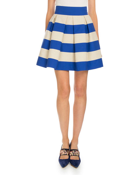 Delpozo Striped Pleated A-Line Skirt, Natural/Navy